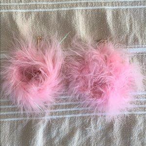 pink fluffy earrings 💕💕💕